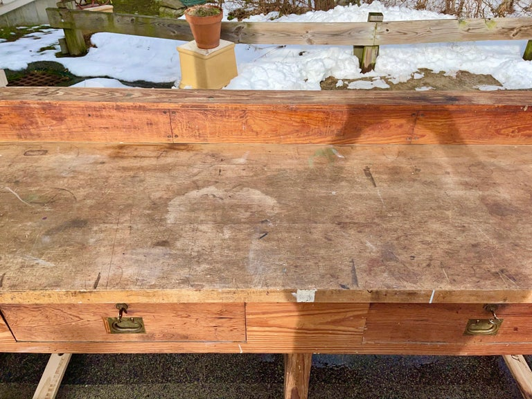 1920s American Built Workshop Table For Sale 10