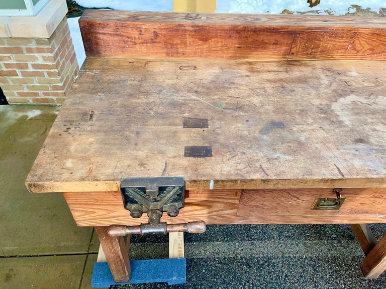1920s American Built Workshop Table For Sale 11