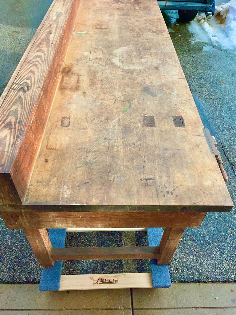 1920s American Built Workshop Table For Sale 12