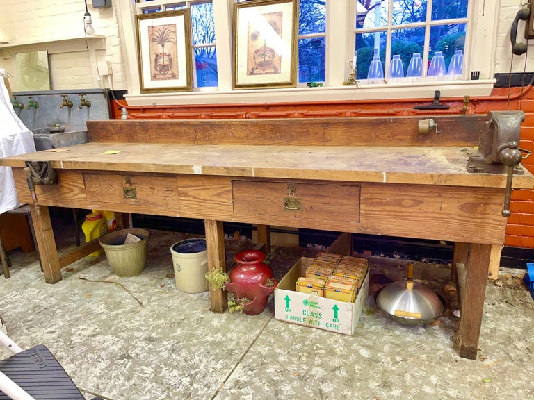 1920s American Built Workshop Table For Sale 13