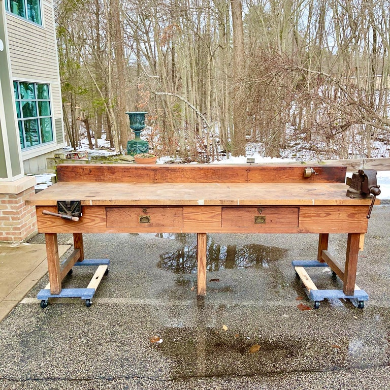 Authentic heavy duty work bench table made circa 1926