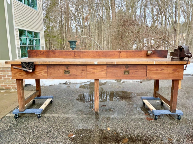Industrial 1920s American Built Workshop Table For Sale