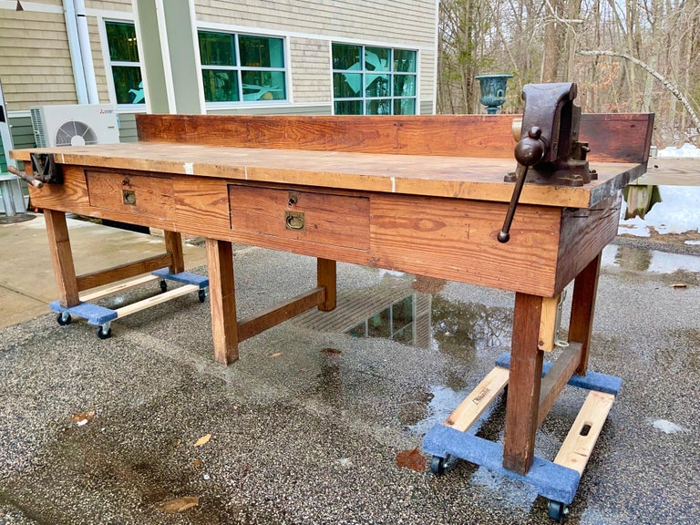 1920s American Built Workshop Table In Fair Condition For Sale In Hingham, MA