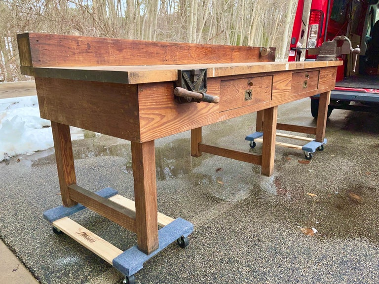 Early 20th Century 1920s American Built Workshop Table For Sale