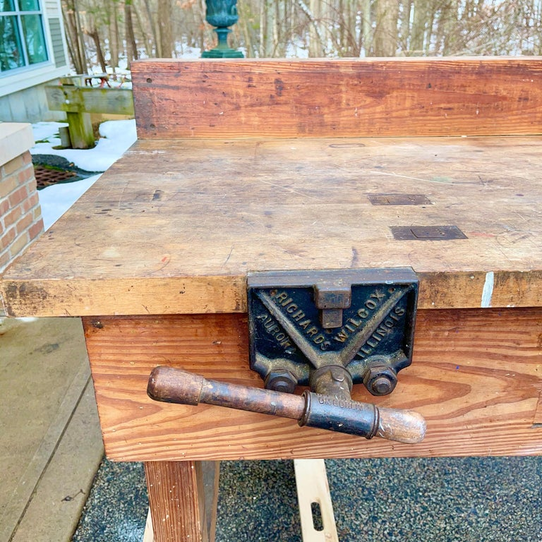 1920s American Built Workshop Table For Sale 1