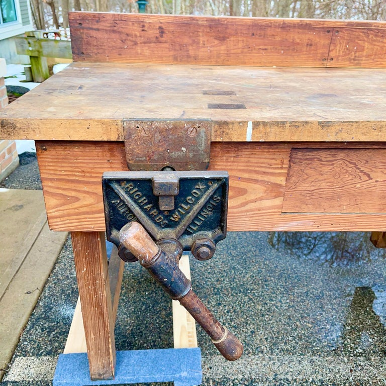 1920s American Built Workshop Table For Sale 3
