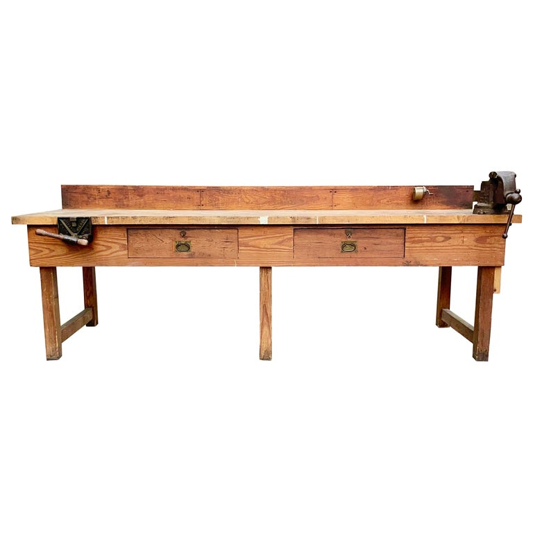 1920s American Built Workshop Table For Sale