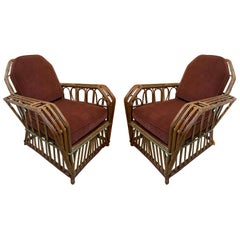 1920s American Split Reed Chairs, a Pair
