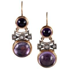 1920s Amethyst and Diamond Drop Earrings