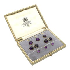 1920s Amethyst Cabochon Gentleman's Dress Set with Cufflinks by Hancocks