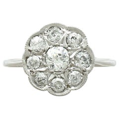 1920s Antique 1.01 Carat Diamond and White Gold Cluster Ring