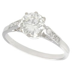 1920s Antique 1.12 Carat Diamond and White Gold Solitaire Ring