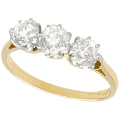 1920s Antique 1.12 Carat Diamond and Yellow Gold Trilogy Ring