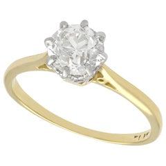 1920s Antique 1.25 Carat Diamond and Yellow Gold Platinum Set Solitaire Ring