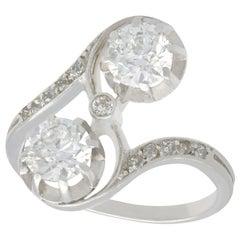 1920s Antique 1.46 Carat Diamond and Platinum Twist Engagement Ring