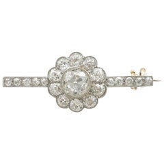 1920s Antique 1.62 Carat Diamond and Yellow Gold, Platinum Set Bar Brooch