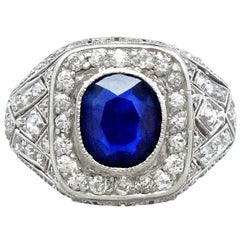 1920s Antique 1.85 Carat Sapphire Diamond Platinum Cocktail Ring