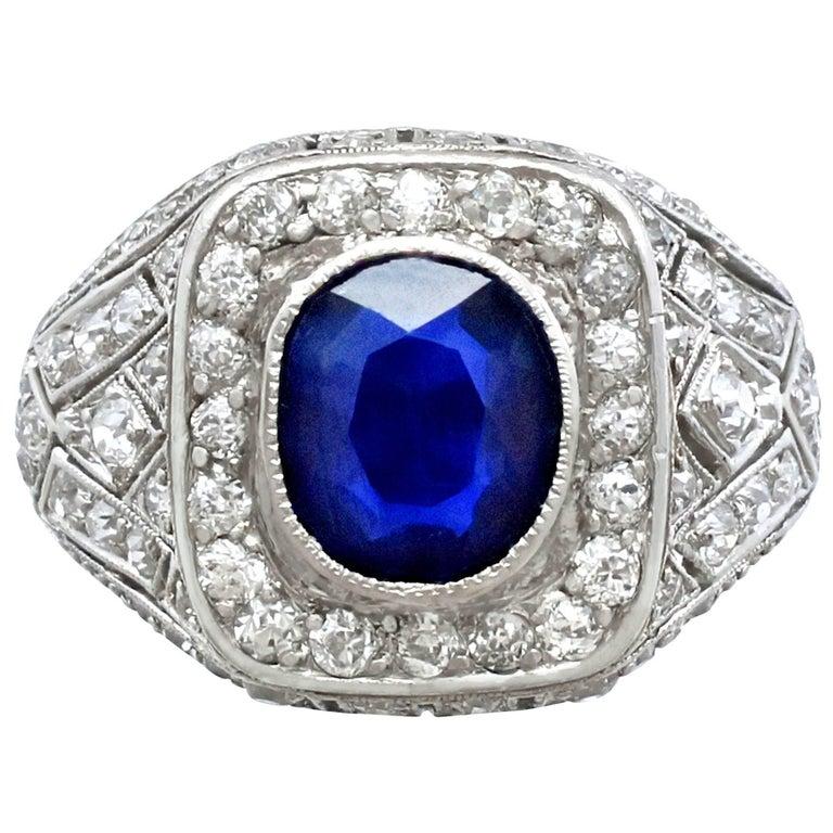 1920s Antique 1.85 Carat Sapphire Diamond Platinum Cocktail Ring