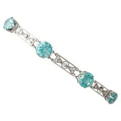 1920s Antique 19.61 Carat Zircon Diamond White Gold Bracelet