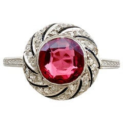 1920s Antique 2.30 Carat Garnet and Diamond Platinum Dress Ring