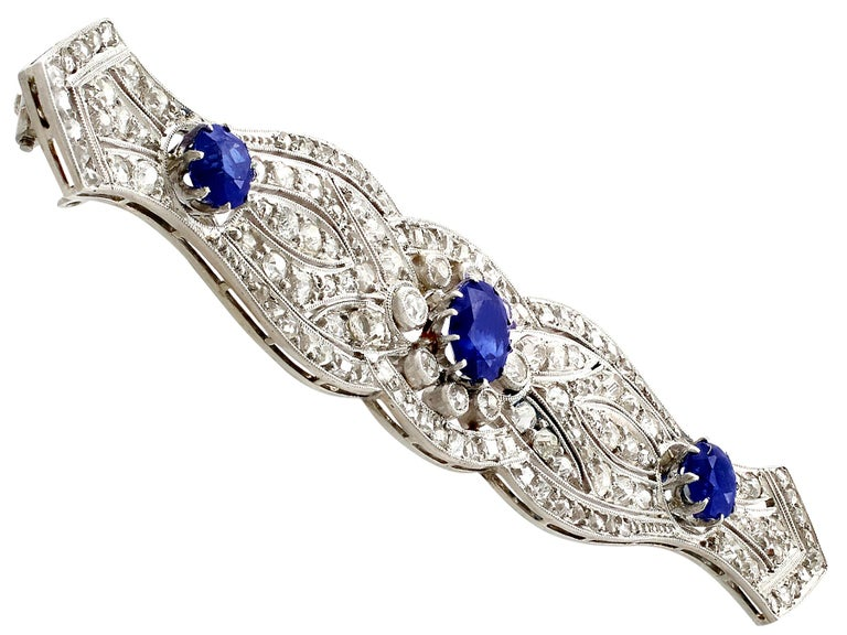 1920s Antique 2.90 Carat Sapphire and 2.98 Carat Diamond Platinum Brooch In Excellent Condition For Sale In Jesmond, Newcastle Upon Tyne
