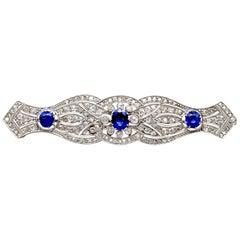 1920s Antique 2.90 Carat Sapphire and 2.98 Carat Diamond Platinum Brooch