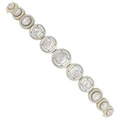 1920s Antique 4.19 Carat Diamond and Yellow Gold and Platinum Set Bracelet