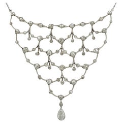 1920s Antique 4.40 Carat Diamond and Platinum Necklace