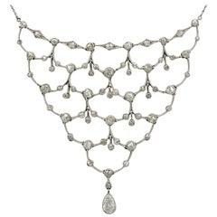 1920s Antique 4.40 Carat Diamond and Platinum Necklace