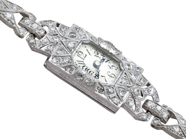 Women's 1920s Antique Art Deco 1.86 Carat Diamond and Platinum Ladies Cocktail Watch For Sale