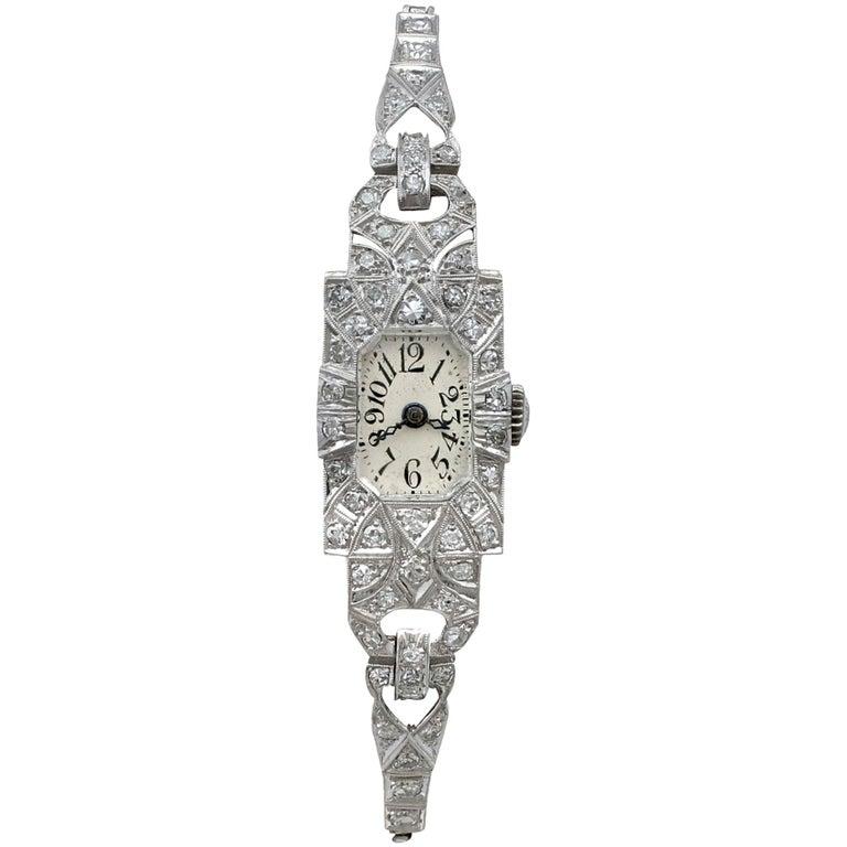 1920s Antique Art Deco 1.86 Carat Diamond and Platinum Ladies Cocktail Watch For Sale