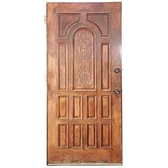 1920s Antique Art Nouveau Hand Carved 13 Pane Mahogany Entry Door