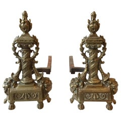 1920s Antique Brass Ornate Andirons