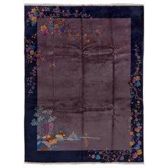 1920s Antique Chinese Peking Art Deco Rug, Navy Borders, Purple Open Field