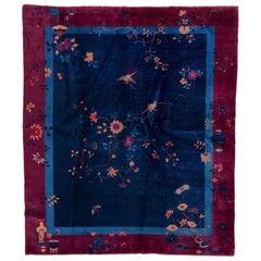1920s Antique Chinese Peking Art Deco Rug, Royal Blue Field, Raspberry Borders