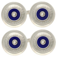 1920s Antique Diamond and Enamel White Gold Cufflinks