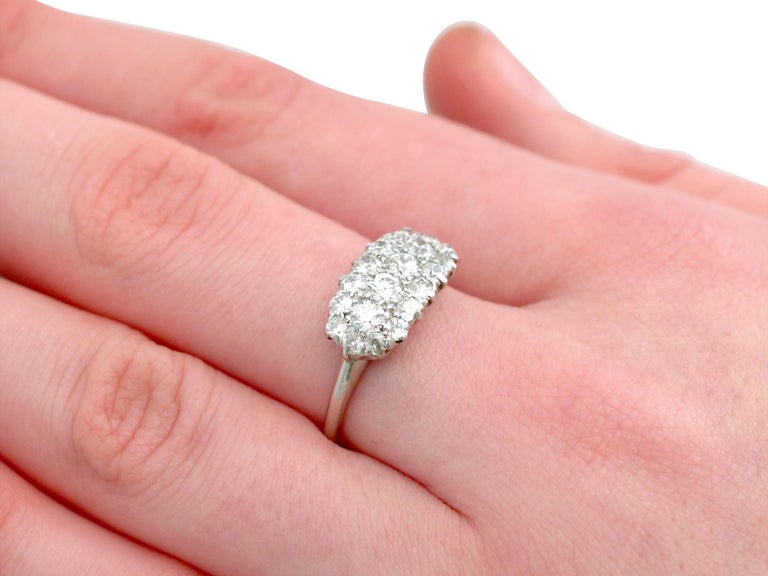 1920s Antique Diamond and Platinum Cluster Ring For Sale 3