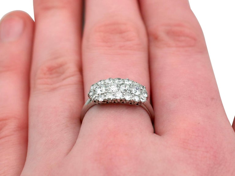 1920s Antique Diamond and Platinum Cluster Ring For Sale 4