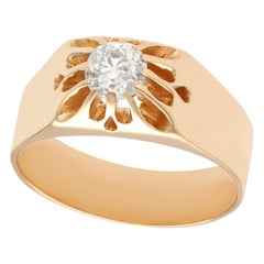 1920s Antique Diamond and Rose Gold Solitaire Ring