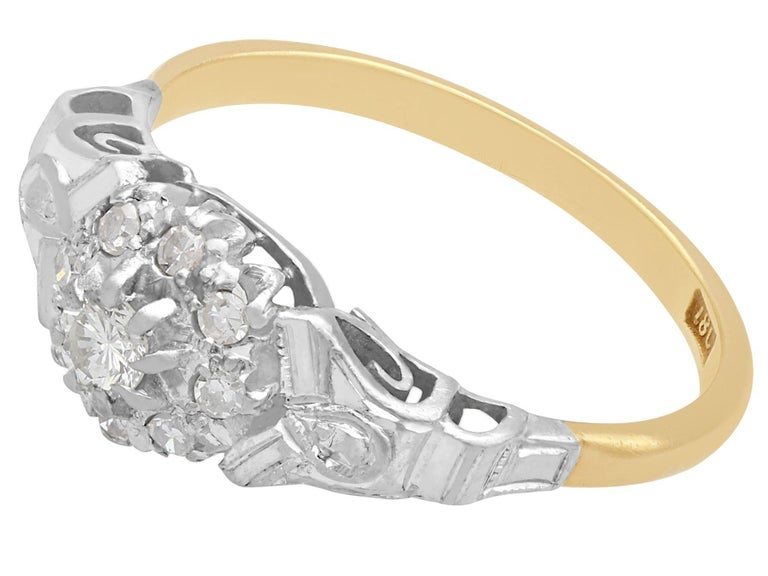 Round Cut Antique Diamond and Yellow Gold Cocktail Ring 1820s For Sale