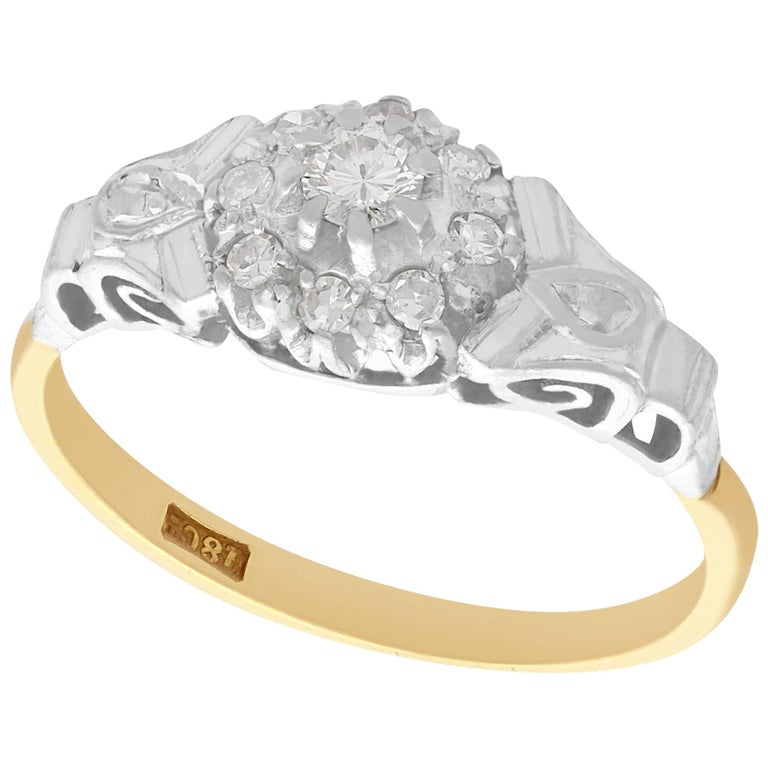 Antique Diamond and Yellow Gold Cocktail Ring 1820s For Sale