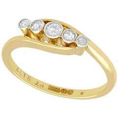 1920s Antique Diamond and Yellow Gold Five-Stone Ring