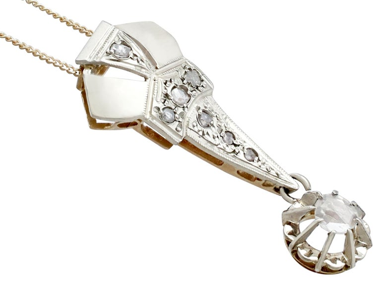 Art Deco 1920s Antique Diamond and Yellow Gold Pendant For Sale