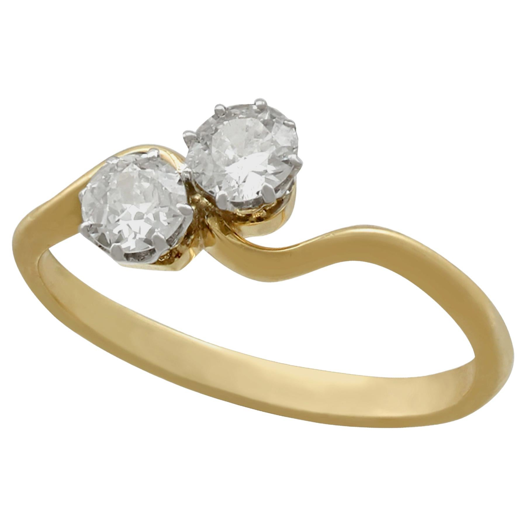 1920s Antique Diamond and Yellow Gold Twist Ring