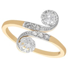 1920s Antique Diamond Yellow Gold and White Gold Set Twist Ring