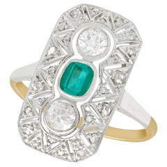 1920s Antique Emerald and Diamond Yellow Gold Cocktail Ring