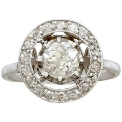 1920s Antique French 1.30 Carat Diamond and Platinum Cluster Ring