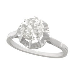 1920s Antique French 1.48 Carat Diamond White Gold Solitaire Ring