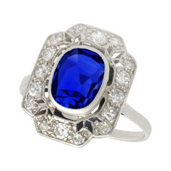 1920s Antique French 2.82 Carat Sapphire and Sapphire White Gold Cluster Ring