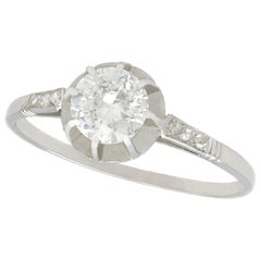 1920s Antique French Diamond and Platinum Solitaire Ring